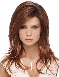 cheap -Synthetic Wig / Bangs kinky Straight Style Side Part Capless Wig Brown Brown / Burgundy Synthetic Hair 26 inch Women's Fashionable Design / Smooth / Women Brown Wig Long Natural Wigs / Ombre Hair