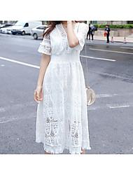 hesapli -Kadın maxi ince salıncak elbise v boyun pamuk beyaz s m l xl