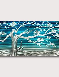 billige -håndmalt strukket oljemaleri lerret klar til å henge abstrakt stil materiale høy kvantitet vegg kunst blå trær blomster