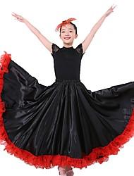お買い得  -ラテンダンス ボトムズ / フラメンコ 女の子 性能 マットサテン ゴア ナチュラルウエスト スカート