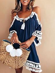お買い得  -女性用 ボヘミアン ストリートファッション フレア ドレス - バックレス タッセル, ソリッド 膝丈