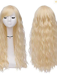 cheap -Synthetic Wig Curly Style Middle Part Capless Wig Golden Light golden Synthetic Hair 22 inch Women's Party Golden Wig Long Natural Wigs
