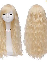 halpa -Synteettiset peruukit Kihara Tyyli Keskiosa Suojuksettomat Peruukki Kulta Vaalea kulta Synteettiset hiukset 22 inch Naisten Party Kulta Peruukki Pitkä Luonnollinen peruukki
