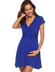 お買い得  -女性用 ベーシック Aライン ドレス - フリル, ソリッド 膝上