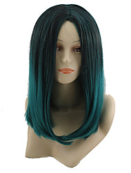 cheap -Synthetic Wig kinky Straight Style Middle Part Capless Wig Green Black / Dark Green Synthetic Hair 12 inch Women's Color Gradient Green Wig Long Natural Wigs