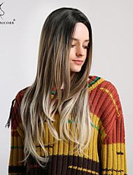 Χαμηλού Κόστους -Συνθετικές Περούκες Κατσαρά Ίσια / Φυσικό ευθεία Στυλ Ασύμμετρο κούρεμα Χωρίς κάλυμμα Περούκα Καφέ Μαύρο / καφέ Ανοικτό Καφέ Συνθετικά μαλλιά 26 inch Γυναικεία / Μαλλιά με ανταύγειες