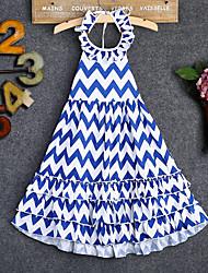 お買い得  -子供 / 幼児 女の子 ストライプ ドレス ブルー