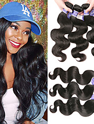 cheap -6 Bundles Peruvian Hair Body Wave Virgin Human Hair 100% Remy Hair Weave Bundles Natural Color Hair Weaves / Hair Bulk Bundle Hair One Pack Solution 8-28 inch Natural Human Hair Weaves Odor Free Soft