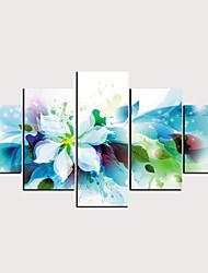 billige -Trykk Valset lerretskunst - Abstrakt Blomstret / Botanisk Klassisk Moderne Fem Paneler
