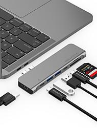 Недорогие -LENTION CB-TP-CS64THCR USB 3.0 Тип C to HDMI 2.0 / Thunderbolt / USB 3.0 / USB 3.0 Тип C / SD-карта USB-концентратор 9 Порты