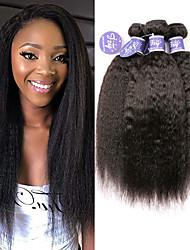 billige -3 Bundler Brasiliansk hår Yaki Straight Ubehandlet Menneskehår 100% Remy Hair Weave Bundles Hovedstykke Menneskehår, Bølget Bundle Hair 8-28 inch Naturlig Menneskehår Vævninger Lugtfri Blød Ny ankomst