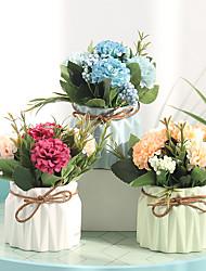 abordables -Fleurs artificielles 1 Une succursale Classique Moderne contemporain Européen Hortensias Fleurs éternelles Vase Fleur de Table