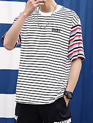 abordables -Hombre Camiseta A Rayas Blanco XL