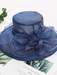 Χαμηλού Κόστους -Τούλι / Organza Καπέλα / Καλύμματα Κεφαλής με Ψεύτικο Μαργαριτάρι / Λουλούδι / Διακοσμητικά 1 Τεμάχιο Γάμου / ΕΞΩΤΕΡΙΚΟΥ ΧΩΡΟΥ Headpiece