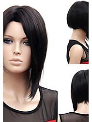 abordables -Pelucas sintéticas Liso Natural Estilo Parte media Sin Tapa Peluca Negro Negro Pelo sintético 12 pulgada Mujer Mujer Negro Peluca Larga Peluca natural
