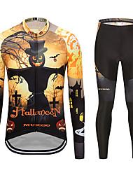 お買い得  -MUBODO 男性用 長袖 タイツ付きサイクリングジャージー ブラック / イエロー バイク スーツウェア 高通気性 速乾性 反射性ストリップ スポーツ メッシュ マウンテンサイクリング ロードバイク 衣類 / 伸縮性あり