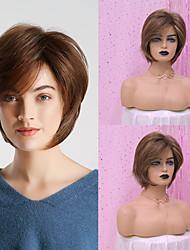 abordables -Pelucas sintéticas Recto / Heterosexual Estilo Corte Pixie Sin Tapa Peluca Marrón Oscuro Marrón Pelo sintético 12 pulgada Mujer Diseños de Moda / sintético / Cómodo Marrón Oscuro Peluca Corta HAIR