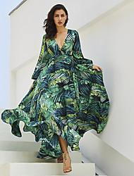 Недорогие -Жен. Элегантный стиль С летящей юбкой Платье - Цветочный принт, Кулиска Макси