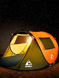 Недорогие -Hewolf 3 человека Семейный кемпинг-палатка На открытом воздухе С защитой от ветра Дожденепроницаемый Пригодно для носки Однослойный Карниза Палатка 1500-2000 mm для
