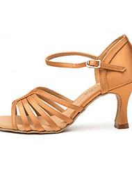 olcso -Női Latin cipők Szatén Magassarkúk Kúpsarok Dance Shoes Arany / Piros / Meztelen