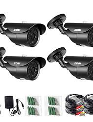 Недорогие -ZOSI 4 шт. 2-мегапиксельная 1080p TVI / AHD / CVI / CVS 1/3 дюйма CMOS Bullet камеры / водонепроницаемая камера / ИК-камера H.264 IP66