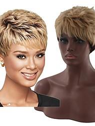 voordelige -Synthetische pruiken KinkyRecht Stijl Middelste stuk Zonder kap Pruik Blond Zwart en Gold Synthetisch haar 6 inch(es) Dames Dames Blond Pruik Kort Natuurlijke pruik