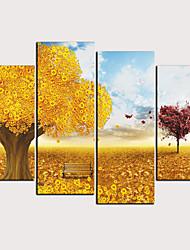 halpa -Painettu Valssatut kangasjulisteet - Abstrakti Maisema Klassinen Moderni 4 paneeli