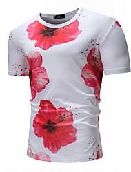 economico -T-shirt Per uomo Fantasia floreale Bianco XL