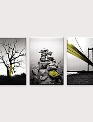 tanie -Nadruk Zwijane wydruki na płótnie - Nowoczesny Pejzaż abstrakcyjny Nowoczesny Trzy panele