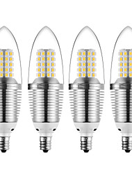 preiswerte -12 W LED Kerzen-Glühbirnen 1200 lm E12 72 LED-Perlen SMD 2835 Dekorativ Warmes Weiß Kühles Weiß 85-265 V, 4pcs