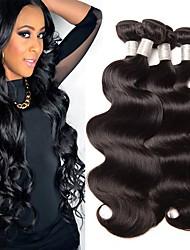 Недорогие -4 Связки Бразильские волосы Естественные кудри Не подвергавшиеся окрашиванию 100% Remy Hair Weave Bundles Человека ткет Волосы Удлинитель Пучок волос 8-28 дюймовый Естественный цвет