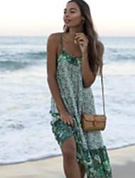 저렴한 -여성용 미디 튜닉 드레스 스트랩 그린