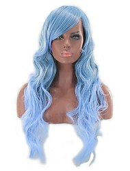 cheap -Synthetic Wig kinky Straight Style Middle Part Capless Wig Blue Light Blue Synthetic Hair 26 inch Women's Women Blue Wig Long Natural Wigs
