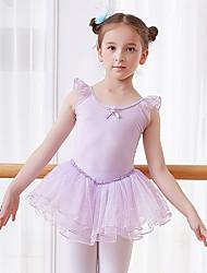 ราคาถูก -ชุดเต้นสำหรับเด็ก / ชุดเต้นบัลเล่ย์ ชุดเดรสต่างๆ เด็กผู้หญิง การฝึกอบรม / Performance ฝ้าย / Elastane โบว์ / ลูกไม้ / กระโปรงระบาย เสื้อไม่มีแขน ธรรมชาติ ชุดเดรส