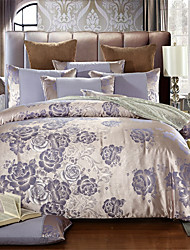 cheap -Duvet Cover Sets Solid Colored / Luxury Cotton Jacquard 4 PieceBedding Sets
