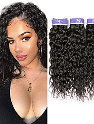 cheap -3 Bundles Peruvian Hair Water Wave Unprocessed Human Hair 100% Remy Hair Weave Bundles Headpiece Natural Color Hair Weaves / Hair Bulk Bundle Hair 8-28 inch Natural Human Hair Weaves Odor Free Best