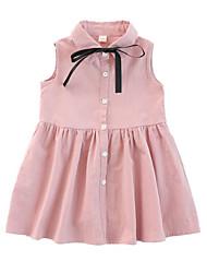 hesapli -Çocuklar Genç Kız sevimli Stil / Sokak Şıklığı Kırk Yama Kırk Yama Kolsuz Suni İpek Elbise Doğal Pembe