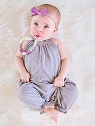 abordables -bébé Fille Actif Couleur Pleine Sans Manches Polyester Une-Pièce Rose Claire