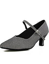 abordables -Mujer Zapatos de Baile Moderno Sintéticos Tacones Alto Hebilla Tacón Cubano Personalizables Zapatos de baile Dark-Gray