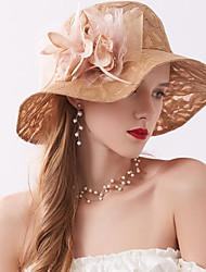 お買い得  -チュール / オーガンザ / ネット 帽子 とともに 人造真珠 / アップリケ / フェザー/ファー 1個 結婚式 / アウトドア かぶと
