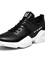 baratos -Homens Sapatos Confortáveis Microfibra Outono & inverno Tênis Corrida Branco / Preto / Branco / Preto