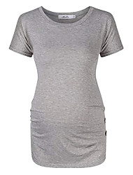 billige -T-skjorte Dame - Ensfarget, Flettet Svart L
