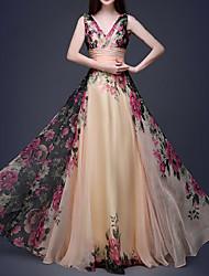 df7db4823da Maxi Dress A-Line V Neck Floor Length Chiffon Dress with Pattern   Print by LAN  TING Express