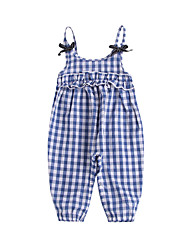 お買い得  -赤ちゃん 女の子 ベーシック / ストリートファッション ソリッド リボン ノースリーブ コットン オーバーオール&ジャンプスーツ ライトブルー