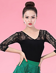 cheap -Ballroom Dance Tops Women's Performance Ice Silk Lace / Ruching 3/4 Length Sleeve Top