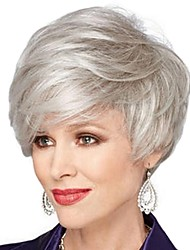 cheap -Synthetic Wig / Bangs kinky Straight Style Free Part Capless Wig Silver Black / White Synthetic Hair 12 inch Women's Fashionable Design / Classic / Women Silver Wig Short Natural Wigs