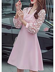 رخيصةأون -المرأة فوق الركبة ألف خط فستان يو الرقبة احمرار خجولة الوردي م م xl