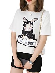 お買い得  -女性用 Tシャツ 動物 ホワイト L