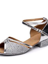 رخيصةأون -نسائي أحذية رقص براق كعب كعب منخفض مخصص أحذية الرقص فضي / فوشيا / أزرق / جلد / تمرين / EU40