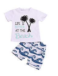hesapli -Bebek Genç Erkek Actif / Temel Çizgili / Desen Desen Kısa Kollu Normal Normal Pamuklu Kıyafet Seti Beyaz